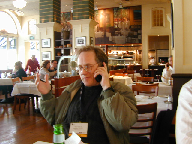 Tim O'Reilly talking to Jeff Bezos!: I had lunch with Tim O'Reilly and Dale Dougherty. While we were having lunch Tim got a phone call from Jeff Bezos! They had a long talk. Afterwards Tim said he now understands why Amazon is doing what they're doing. I said I'm looking forward to reading his report.     